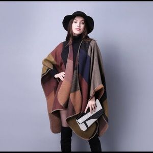 Large cashmere cape shawl 150*130cm brown and blue